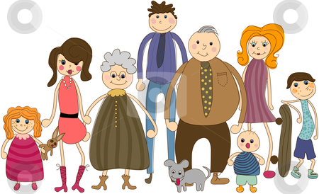 Big Family Portrait stock vector clipart, All people are complete and  grouped separetly. by Linnea Eriksson