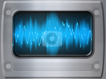 Sound wave metal stock photo, Great audio sound wave panel in brushed metal by Phil Morley