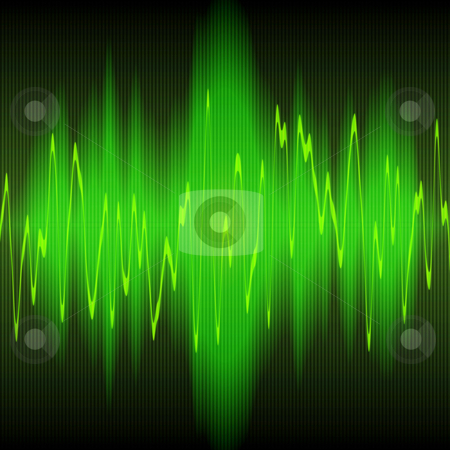 Sound wave stock photo, Green sound waves oscillating on black background by Phil Morley