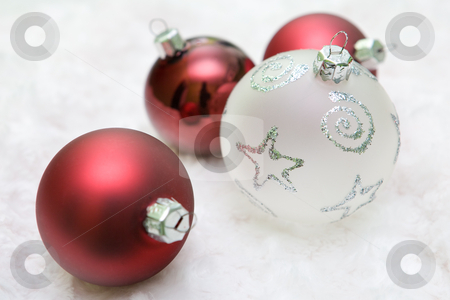 Red and white christmas balls stock photo, Mixed christmas balls in red and white colour. by Tamas Vargyasi