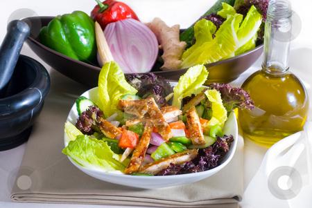 Sesame chicken salad stock photo, Fresh colorfull sesame chicken salad close up by Francesco Perre