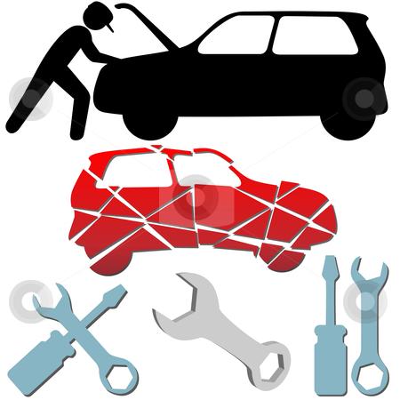 Auto Repair Maintenance Car Mechanic symbol set stock vector clipart, Auto Repair Maintenance Car Mechanic symbol icon set. by Michael Brown