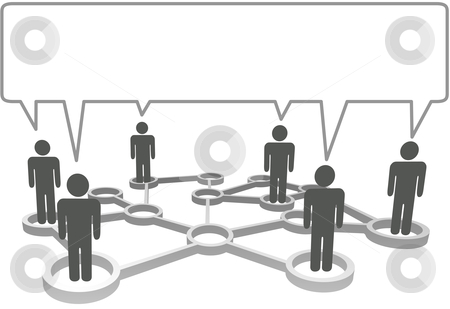 Connected people communicate business social network speech bubb stock vector clipart, Connected symbol people in network nodes communicate in a speech bubble. by Michael Brown
