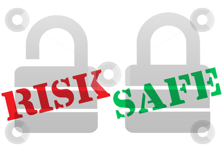 RISK SAFE Protection Security Lock Symbols stock vector clipart, A set of red RISK and green SAFE lock symbol for a safe and secure solution to security problems. by Michael Brown