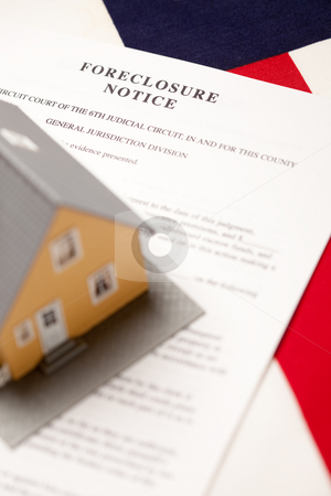 Foreclosure Notice, House and Flag stock photo, Foreclosure Notice and House on the American Flag with Selective Focus. by Andy Dean