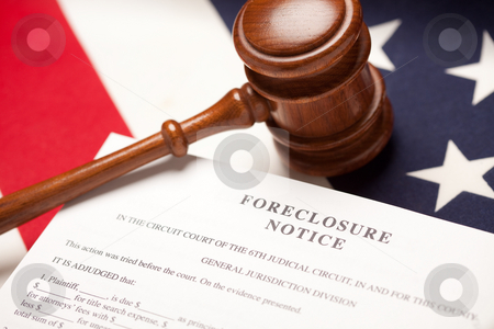 Gavel, American Flag and Foreclosure Notice stock photo, Gavel, American Flag and Foreclosure Notice with Selective Focus. by Andy Dean