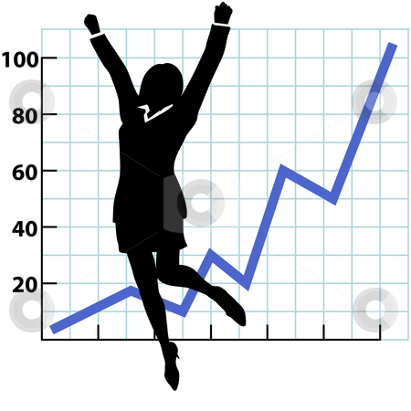A Business Person Growth Success Chart stock vector clipart, A business woman silhouette jumps and raises her fists in celebration of success on a chart of growth or profit. by Michael Brown