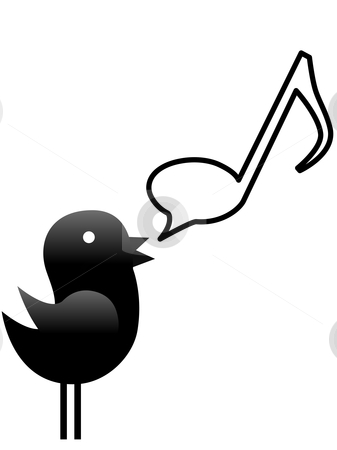 A little tweet bird sings a note stock vector clipart, A tweety bird sings or talks music in a musical note speech bubble. by Michael Brown