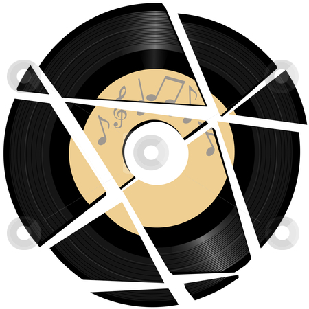 Broken vinyl Record with music label stock vector clipart, A vinyl record with a music notes record label broken to pieces. by Michael Brown