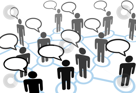 Everybodys talking speech bubble communication network stock vector clipart, Everybody's talking at everybody in speech bubble communication social network. by Michael Brown