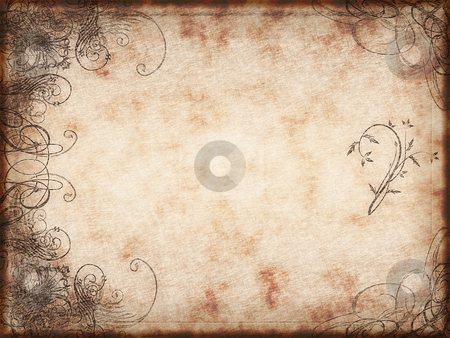 Arabesque design stock photo, Excellent swirling arabesque design printed on grunge paper background by Phil Morley