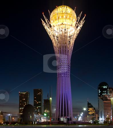 Bayterek Tower in Astana stock photo, Evening view of Bayterek tower in Astana, the capital of Kazakhstan by Ekaterina Kornilova