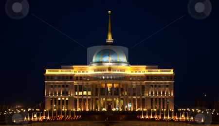 Ak Orda Presidential Palace in Astana, Kazakhstan stock photo, Evening view of Ak Orda Presidential Palace in Astana, the capital of Kazakhstan by Ekaterina Kornilova