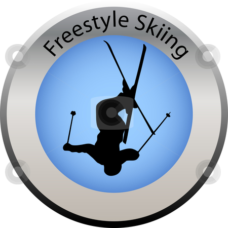 Winter game button freestyle skiing stock vector clipart, Winter game button freestyle skiing by Petra Roeder