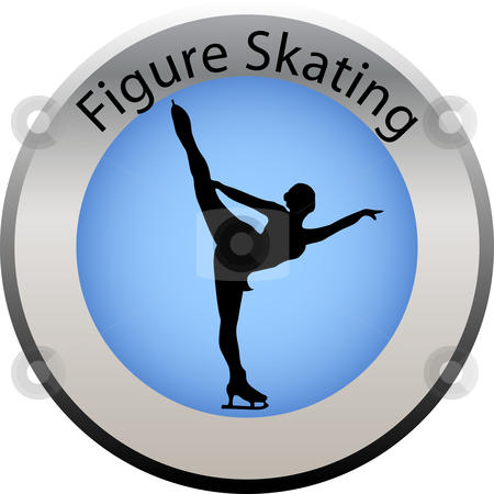 Winter game button figure skating stock vector clipart, Winter game button figure skating by Petra Roeder