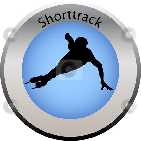 Winter game button shorttrack stock vector clipart, Winter game button shorttrack by Petra Roeder