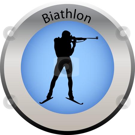 Winter game button biathlon stock vector clipart, Winter game button biathlon by Petra Roeder
