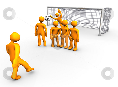Soccer Game stock photo, 3d illustration looks a orange humanoid person playing soccer. by Alexander Limbach