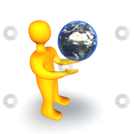 Earth Human 3D stock photo, 3d illustration looks human with a globe on the white background. by Alexander Limbach