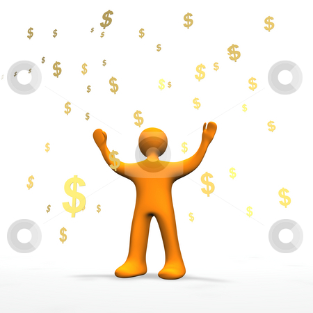 Money Rain 3D stock photo, 3d illustration looks a orange person in the money rain. by Alexander Limbach