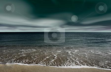 Landscape beach stock photo, Picture of a night beach landscape by ikostudio
