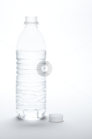 Water Bottle and Cap stock photo, Water Bottle and Cap Image on A Gradated White Background. by Andy Dean