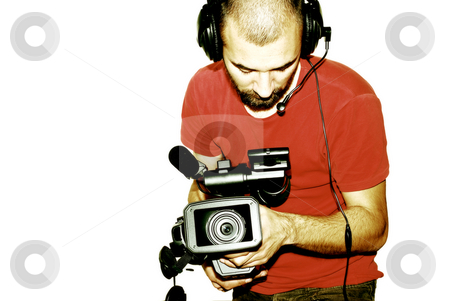 Cameraman stock photo, Image with a television cameraman working with camera by Tudor Antonel adrian