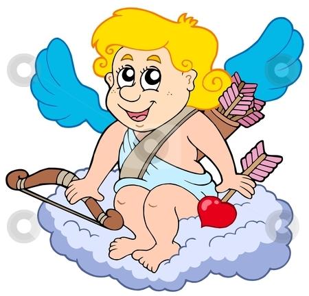 Cupid on cloud stock vector clipart, Cupid on cloud - vector illustration. by Klara Viskova