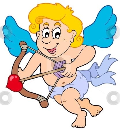 Happy cupid with bow and arrow stock vector clipart, Happy Cupid with bow and arrow - vector illustration. by Klara Viskova