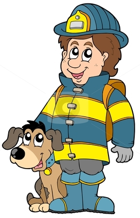 Firefighter with dog stock vector