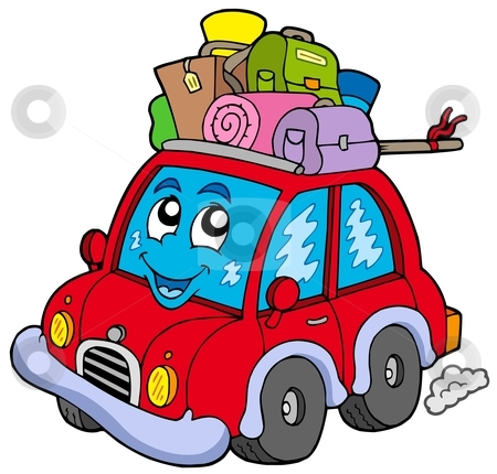 Cute car with baggage stock vector clipart, Cute car with baggage - vector illustration. by Klara Viskova
