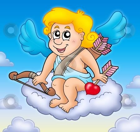 Happy Cupid on sky stock photo, Happy Cupid on sky - color illustration. by Klara Viskova