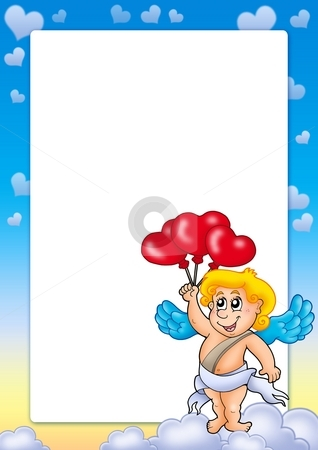 Valentine frame with Cupid 5 stock photo, Valentine frame with Cupid 5 - color illustration. by Klara Viskova