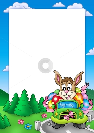 Easter frame with bunny driving car stock photo