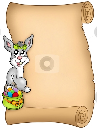 Easter parchment with bunny stock photo, Easter parchment with bunny - color illustration. by Klara Viskova