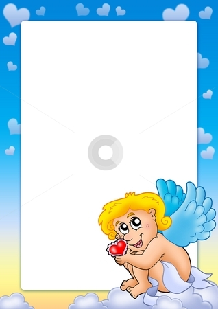 Valentine frame with Cupid 6 stock photo, Valentine frame with Cupid 6 - color illustration. by Klara Viskova