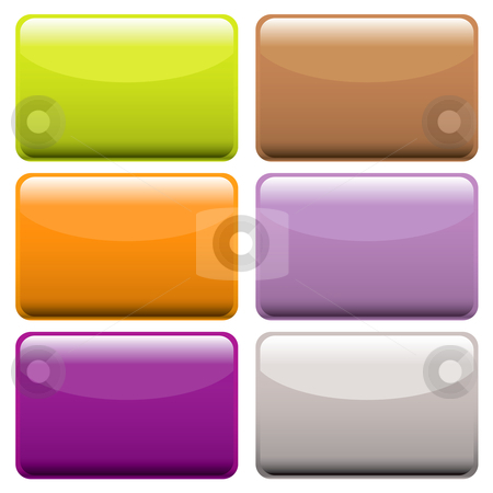 Colorful oblong web buttons stock vector clipart, Collection of brightly colored web buttons with room to add text or icons by Michael Travers