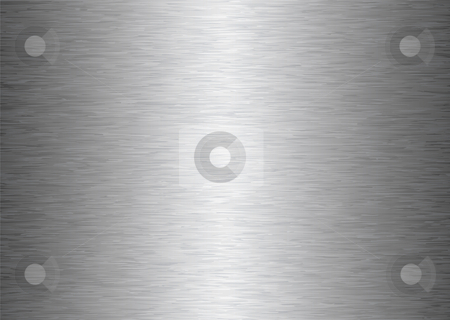Gray metal background stock vector clipart, Silver gray brushed aluminum metal background with light reflection by Michael Travers