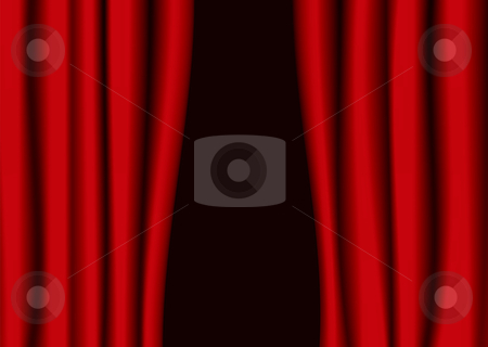 Red theater curtain gap stock vector clipart, Red theater curtains partly open with black background by Michael Travers