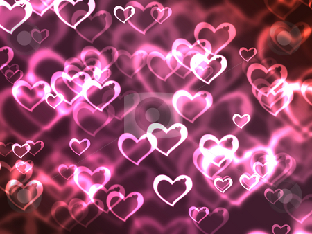 Abstract glowing Hearts on a colorful background stock photo, Abstract glowing Hearts on a colorful background by Melissa King