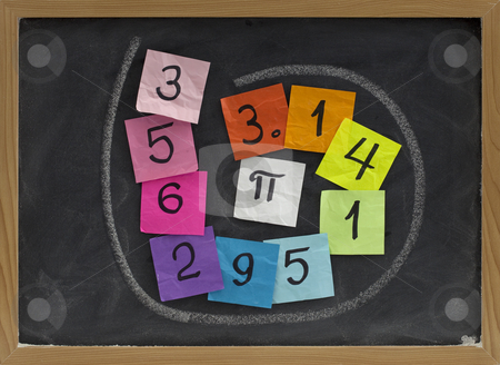 The number pi on a blackboard stock photo, First ten digits of the number pi handwritten on colorful sticky notes and posted on a blackboard by Marek Uliasz