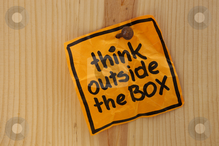 Think outside the box reminder stock photo, Think outside the box - bright ornage reminder note nailed to a wooden wall by Marek Uliasz