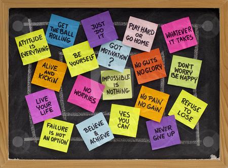 Motivational slogans and phrases stock photo, Motivational slogans and phrases - colorful reminder notes on blackboard by Marek Uliasz
