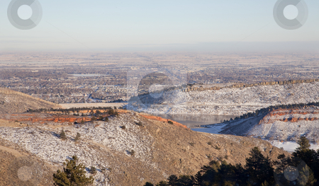 Hazy winter view of Colorado plains and Fort Collins stock photo, Winter view of Colorado plains, Fort Collins and Hordetooth Reservoir from Horsetooth Mountain Park by Marek Uliasz