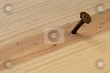 Rusty nail stock photo, Rusty nail in wood plank with grain texture by Marek Uliasz