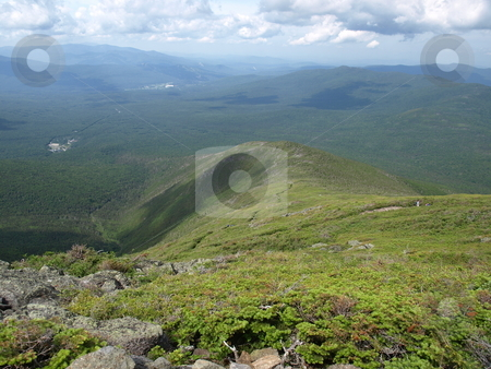 Looking back along the trail stock photo, View along the Jewel trail which goes up Mt. Washington in the White Mountains of New Hampshire. The view is during the summer by Tim Markley