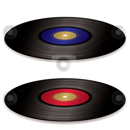 LP record album flat stock vector clipart, Pair of old fashioned vinyl record albums with blue and red labels by Michael Travers