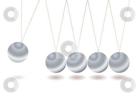 Newtons craddle stock vector clipart, Silver metal balls that make a newtons cradle by Michael Travers