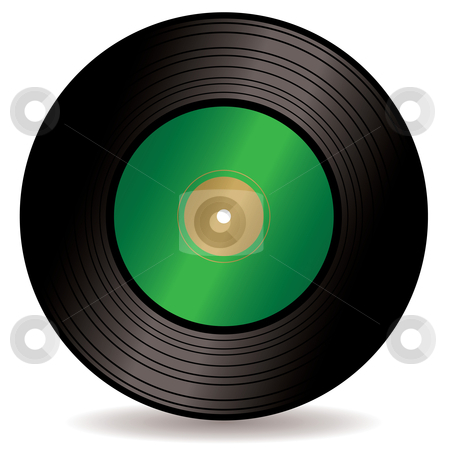 Record single stock vector clipart, Old fashioned vinyl single with green label and room for your own logo by Michael Travers