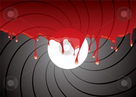 Gun barrel inside blood stock vector clipart, Abstract gun barrel inside with blood dribble background by Michael Travers